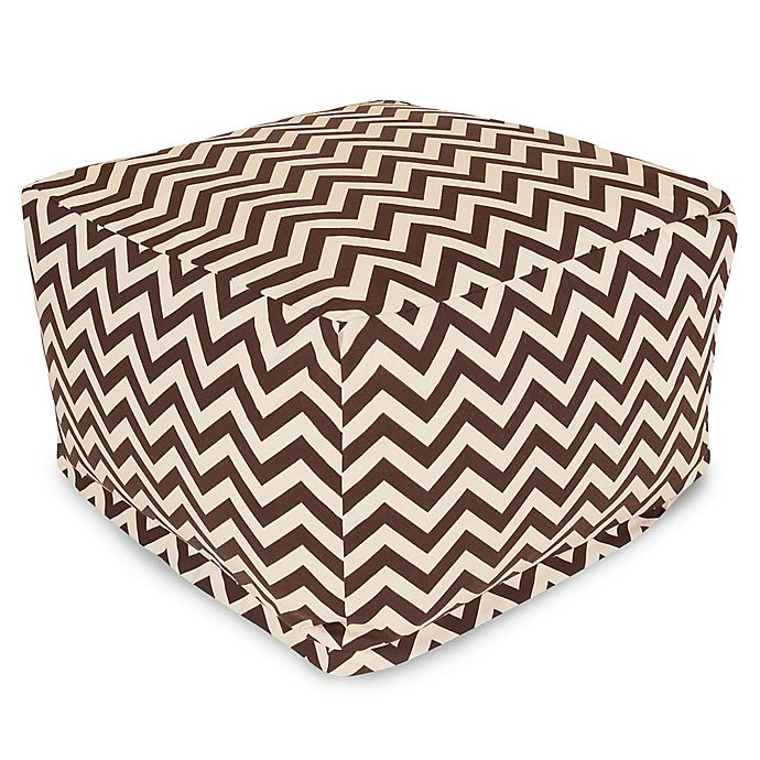 Alternate image 1 for Majestic Home Goods Chevron Polyester Bean Bag Ottoman in Chocolate