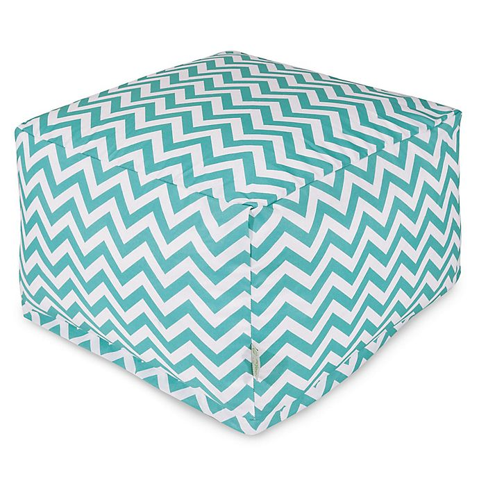 Alternate image 1 for Majestic Home Goods Chevron Polyester Bean Bag Ottoman in Teal