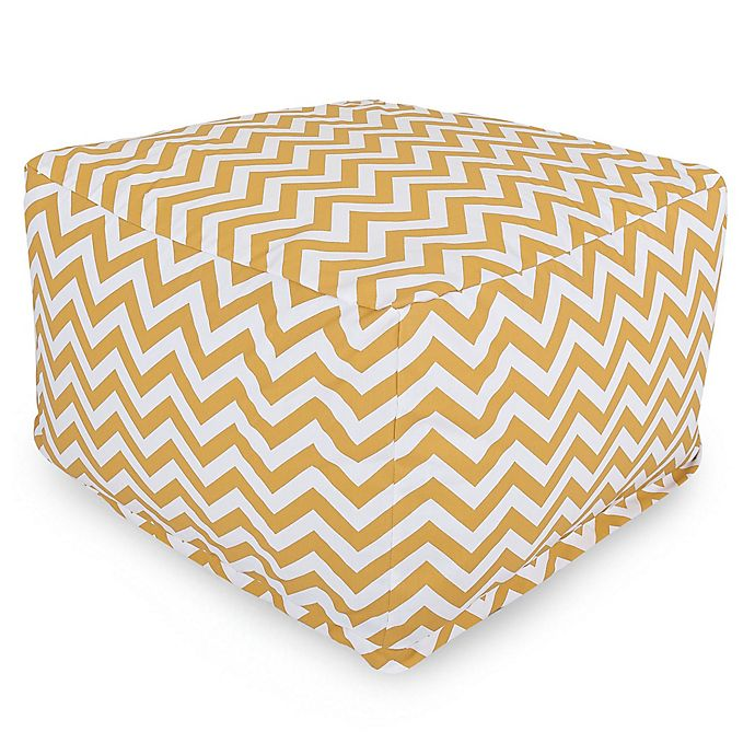 Alternate image 1 for Majestic Home Goods Chevron Polyester Bean Bag Ottoman in Yellow