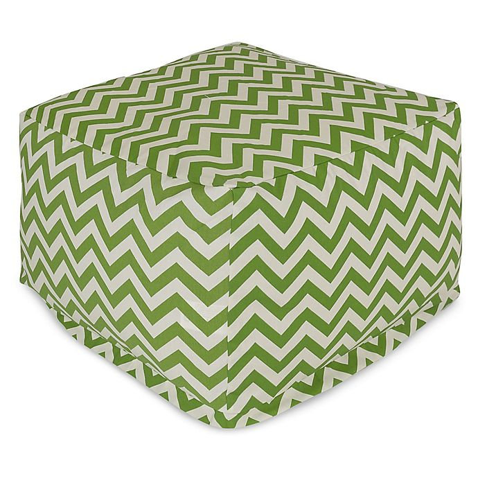 Alternate image 1 for Majestic Home Goods Chevron Polyester Bean Bag Ottoman in Sage