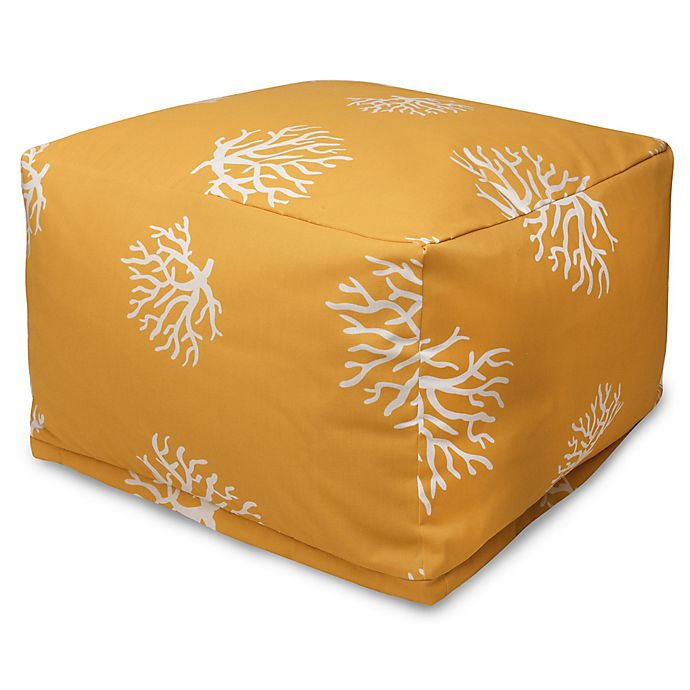 Alternate image 1 for Majestic International Kick-It Coral Bean Bag Ottoman in Yellow