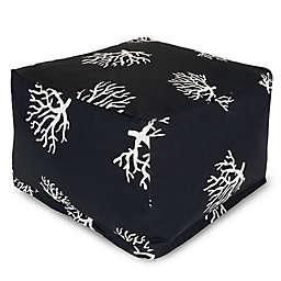 Majestic International Kick-It Coral Bean Bag Ottoman in Black