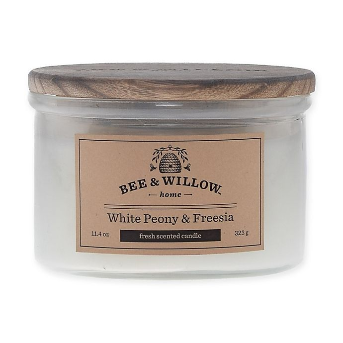 Alternate image 1 for Bee & Willow™ Home White Peony & Freesia 11.4 oz. Short Jar Candle in White