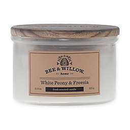 Bee & Willow™ Home White Peony & Freesia 12 oz. Short Jar Candle in White