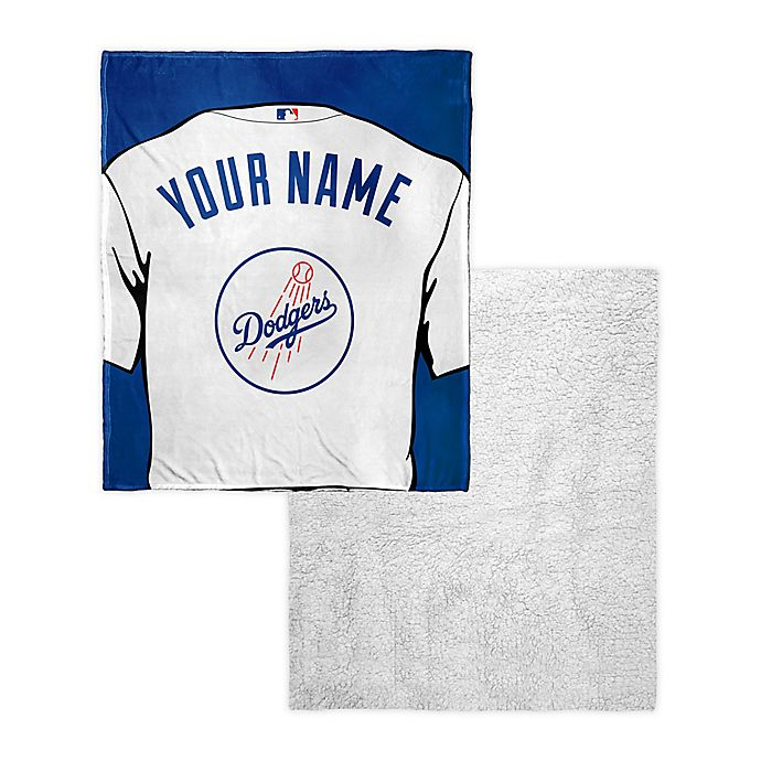 Alternate image 1 for MLB Los Angeles Personalized Dodgers Silk Touch Sherpa Throw Blanket