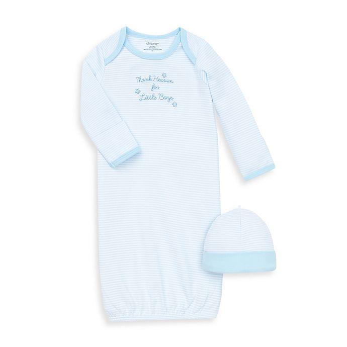 Alternate image 1 for Little Me® Thank Heavens Skylight Blue/White Gown