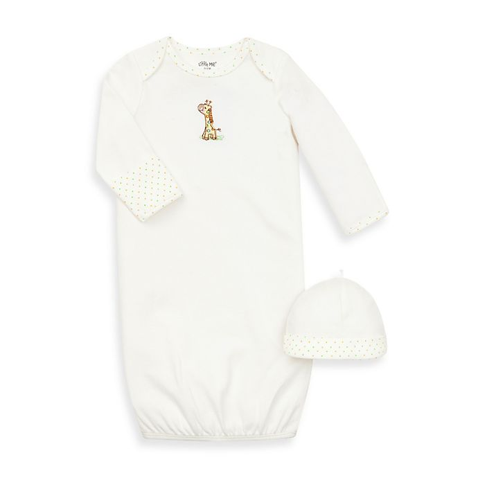 Alternate image 1 for Little Me® Giraffe Ivory Gown with Hat