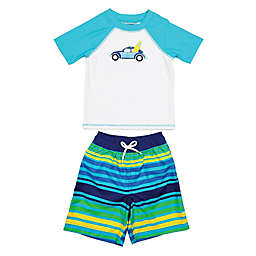 Floatimini 2-Piece Toddler Stripe Surf Car Rashguard Set in White