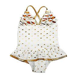 Floatimini 1-Piece Toddler Gold Heart Ruffle Swimsuit in White
