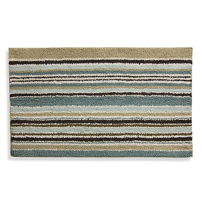 The Bath Beyond: Lacey Blue And Brown Bath Rug
