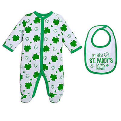 babyGEAR™ 2-Piece Shamrock Footie and Bib Set