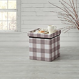 Bee & Willow Home™ Linen Upholstered Plaid Ottoman
