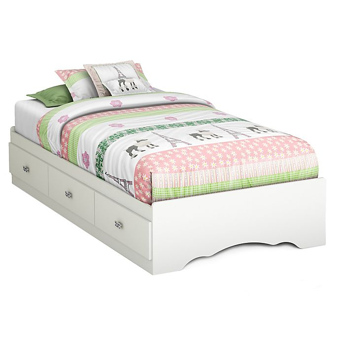 South S Tiara Twin Bed With Under, White Twin Storage Bed Canada