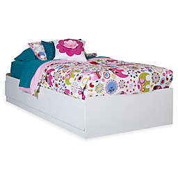 South Shore Logik Mates Twin Bed with Under-the-Bed Storage in White