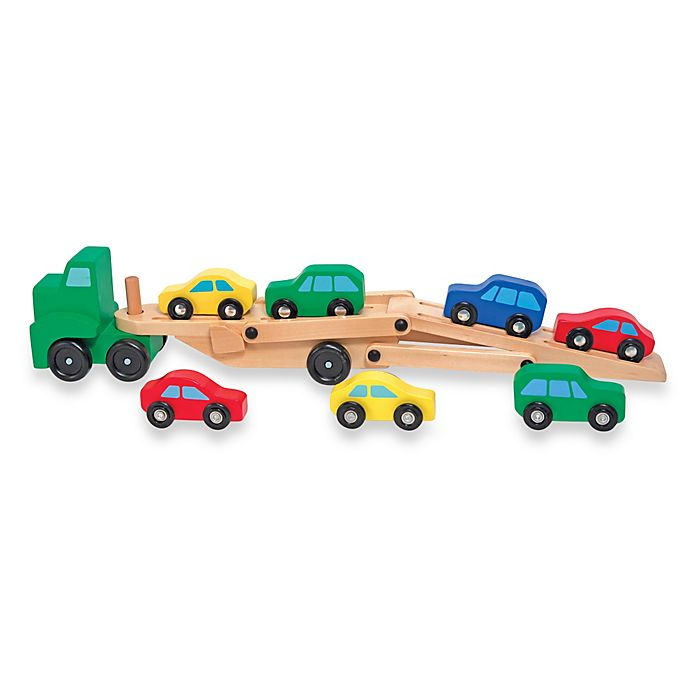 Melissa Doug Car Carrier Truck And Cars Wooden Toy Set