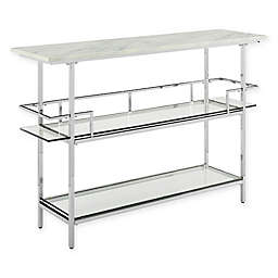 Aimee Glass and Steel Bar in Chrome/Faux Marble