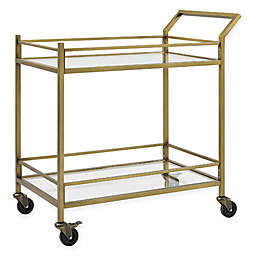 Aimee Glass and Steel Bar Cart in Gold