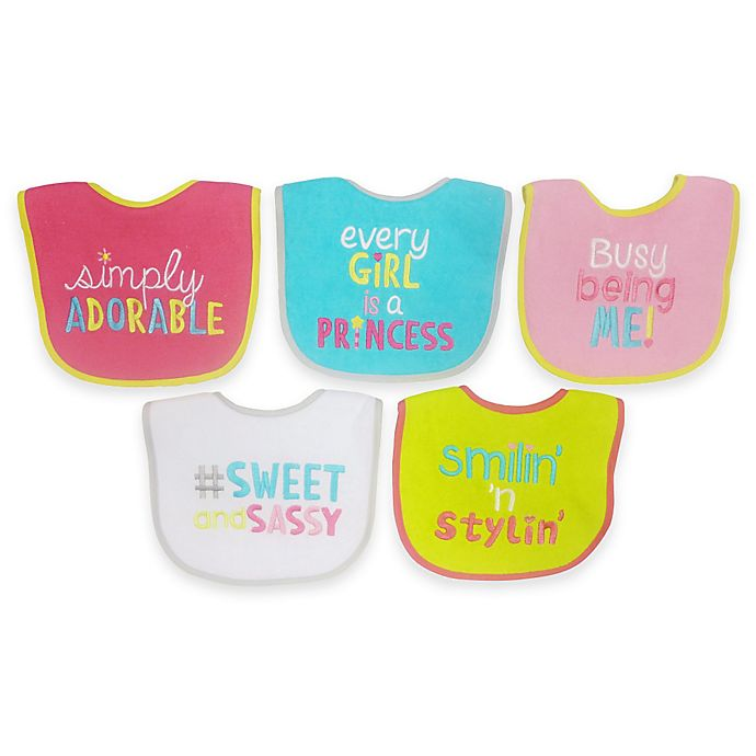 Alternate image 1 for Neat Solutions® Attitude Saying 5-Pack Girls Bib Set