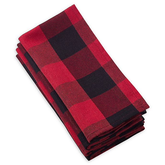 Alternate image 1 for Saro Lifestyle Buffalo Plaid Napkins (Set of 4)