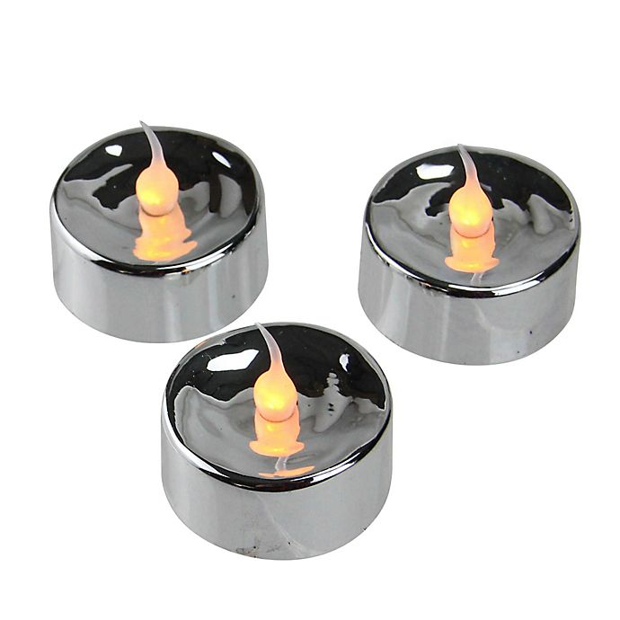 Alternate image 1 for Battery Operated Flickering LED Tea Light Candles in Silver (Set of 3)