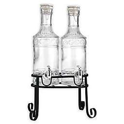 Double 0.5-Gallon Glass Beverage Dispenser Set with Metal Stand