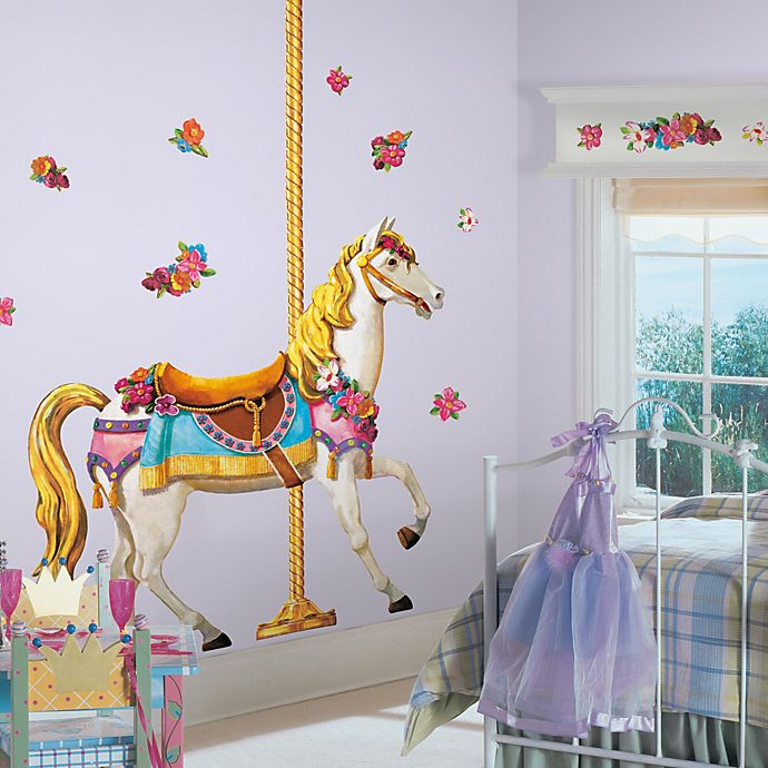 carousel horse peel & stick giant wall decal | bed bath & beyond