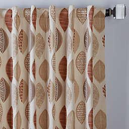 Abstract Leaf Rod Pocket/Back Tab Window Curtain Panel (Single)