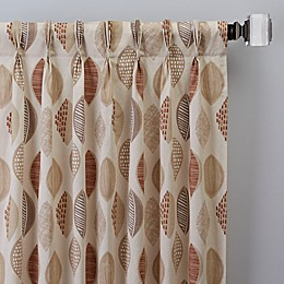 Abstract Leaf Pinch Pleat Window Curtain Panel