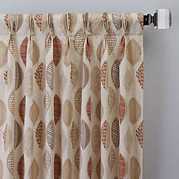 Abstract Leaf Pinch Pleat Window Curtain Panel (Single)