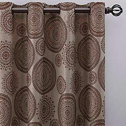 Medallion 108-Inch Grommet Window Curtain Panel in Mocha (Single)