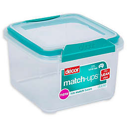 Décor® Match-Ups® Clips 47.3 oz. Square Food Storage Container in Teal