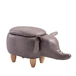 Furniture Style Faux Leather Elephant Storage Ottoman
