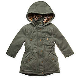 Urban Republic Hooded Twill Coat with Pockets in Olive