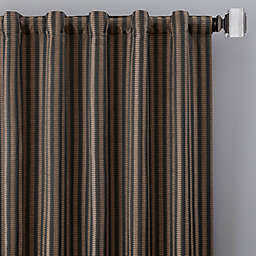 Rail Stripe 108-Inch Rod Pocket/Back Tab Window Curtain Panel in Charcoal