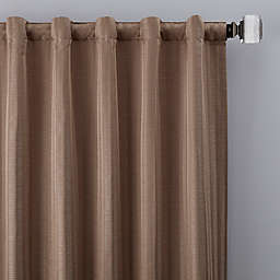 Rail Stripe 95-Inch Rod Pocket/Back Tab Window Curtain Panel in Mocha