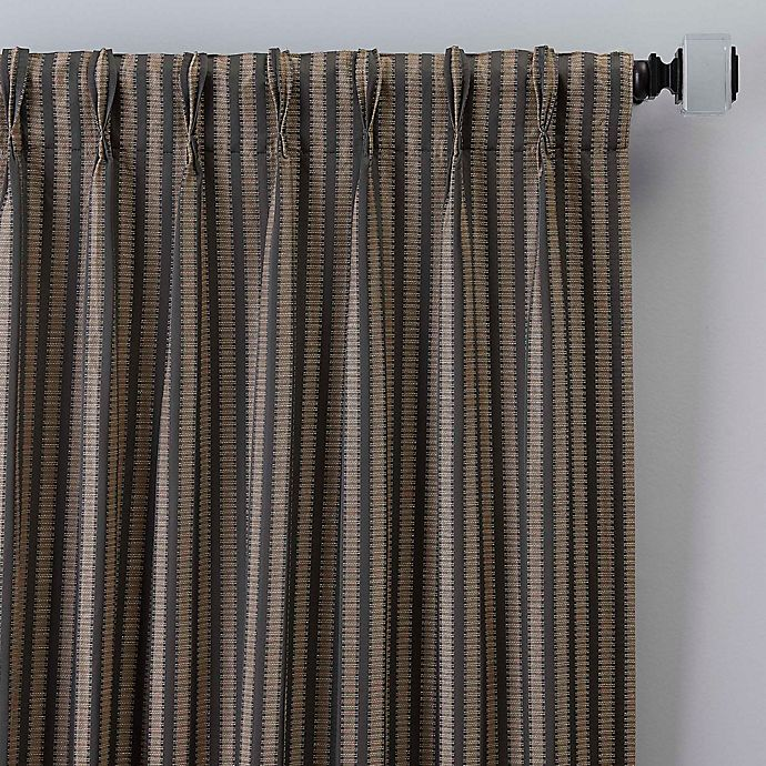 Alternate image 1 for Rail Stripe 84-Inch Pinch Pleat Window Curtain Panel in Charcoal