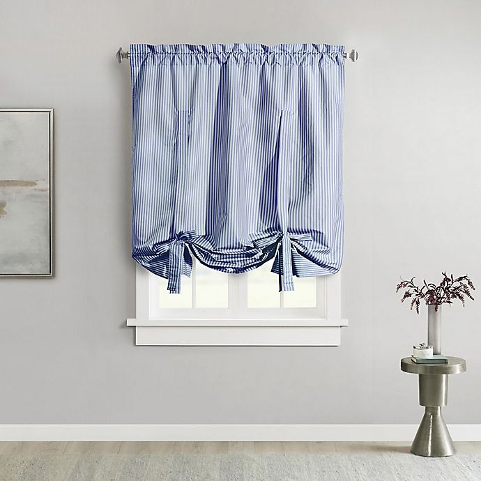 Alternate image 1 for Ticking Stripe 63-Inch Rod Pocket Window Curtain Panel in Navy