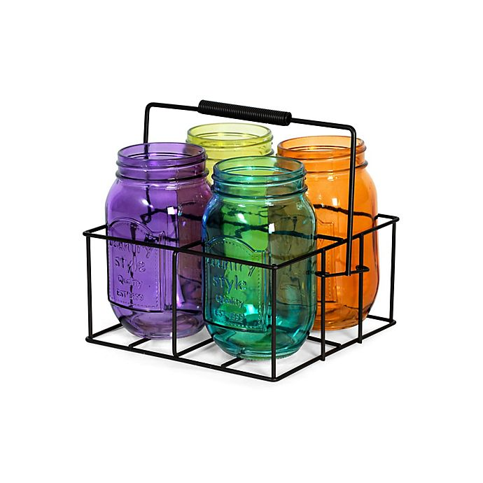 Alternate image 1 for Elements by Pfaltzgraff® Assorted Mason Jar Tealight Holders With Caddy (Set of 4)