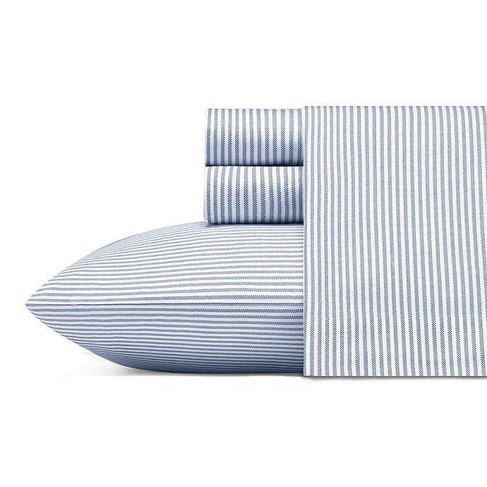 Alternate image 1 for Poppy & Fritz® Oxford Stripe 200-Thread-Count Sheet Set in White/Blue