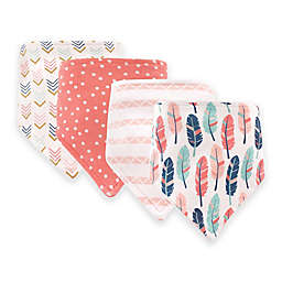 Hudson Baby® 12-Pack Girl Feathers Bandana Bibs in Gold