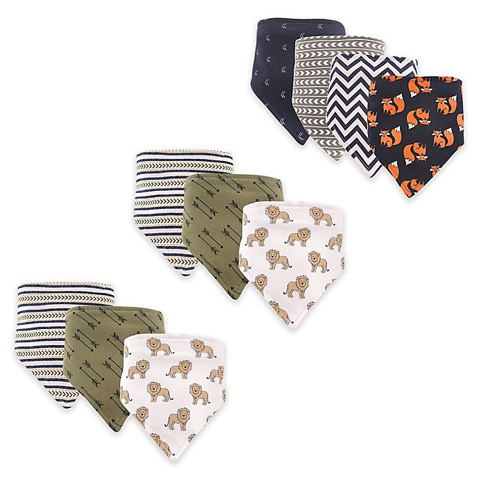 Alternate image 1 for Hudson Baby® 12-Pack Lions and Bears Bandana Bibs in Brown