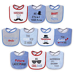 Hudson Baby® 10-Pack Handsome Eyes Drooler Bibs in Blue