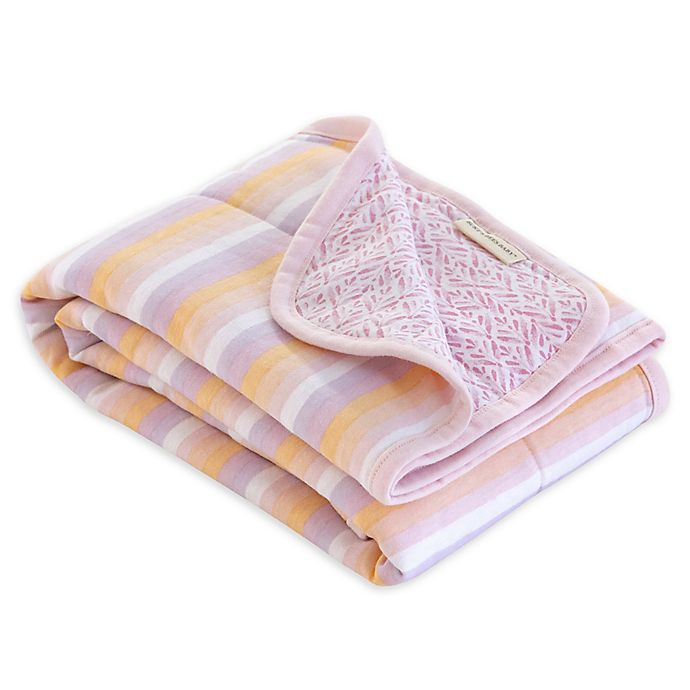 Alternate image 1 for Burt's Bees Baby® Sunset Stripe Organic Cotton Reversible Blanket in Blossom