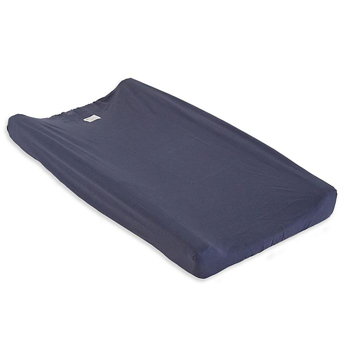 Alternate image 1 for Burt's Bees Baby® Organic Cotton Changing Pad Cover in Indigo