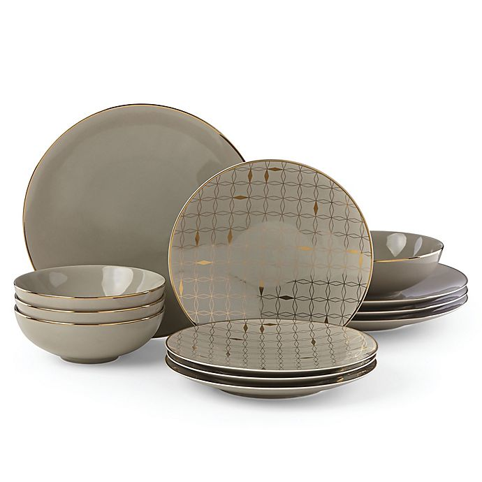 Alternate image 1 for Lenox® Trianna Taupe™ 12-Piece Dinnerware Set