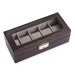 ROYCE New York 5-Slot Leather Watch Box