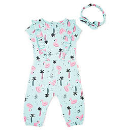 Mini Heroes™ Flamingo Ruffle Coverall and Headband Set in Mint