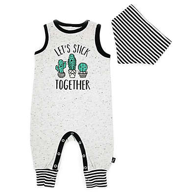 Mini Heroes 2-Piece Stick Together Romper and Bandana Set in Grey