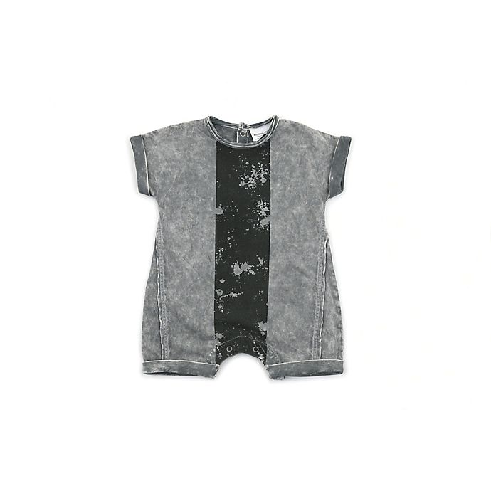 Alternate image 1 for Kidding Around Size 9M Modern Print Romper in Grey/Black
