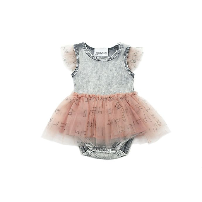 Alternate image 1 for Kidding Around Newborn Tulle Words Bodysuit in Grey